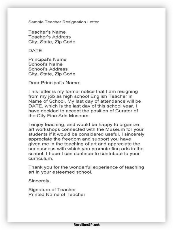 Teacher Resignation Letter Sample 16