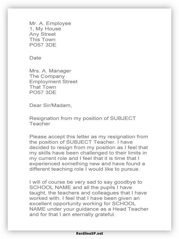 Teacher Resignation Letter Sample 17