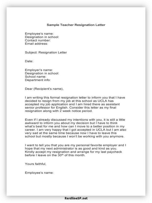 Teacher Resignation Letter Sample 18