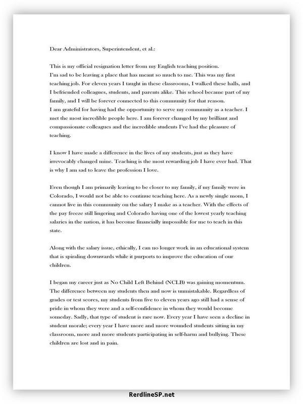 Teacher Resignation Letter Sample 19