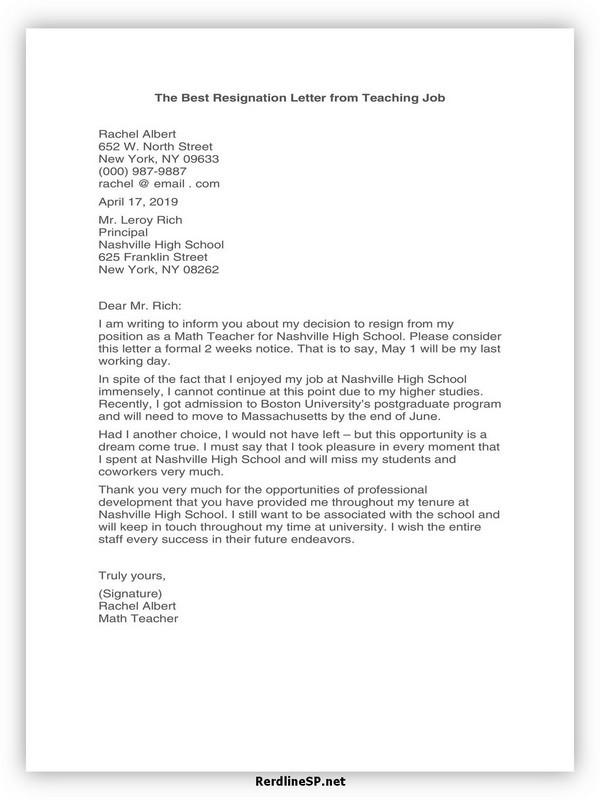 Teacher Resignation Letter Template 21