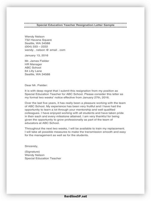 Teacher Resignation Letter Template 22