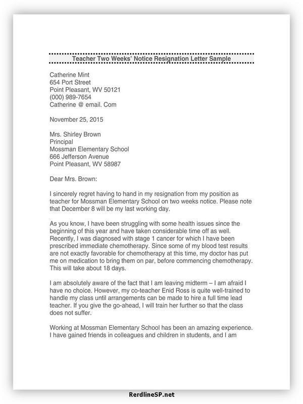 Teacher Resignation Letter Template 23