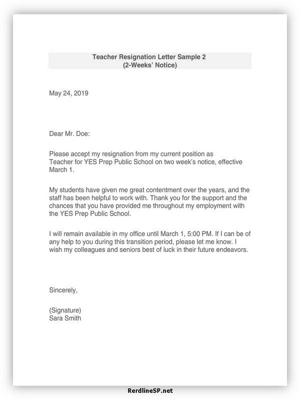Teacher Resignation Letter Template 26