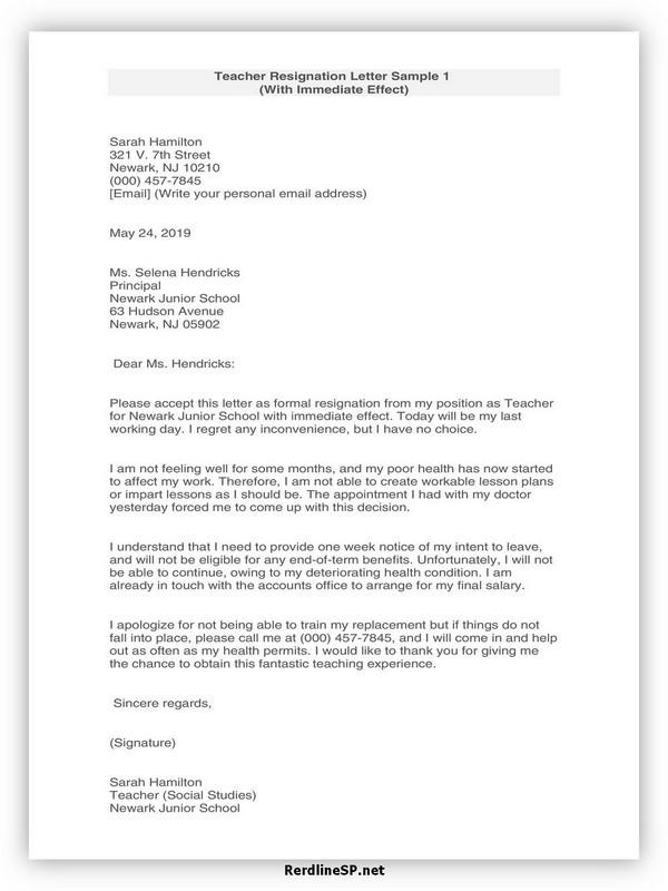 Teacher Resignation Letter Template 27