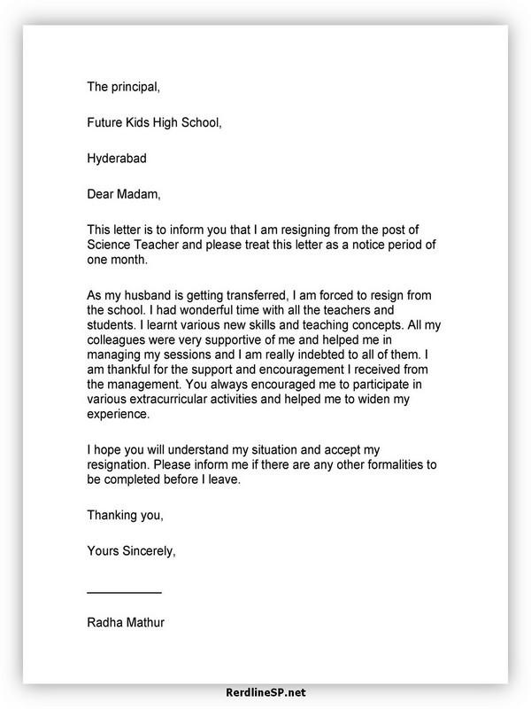 Teacher Resignation Letter Template 28