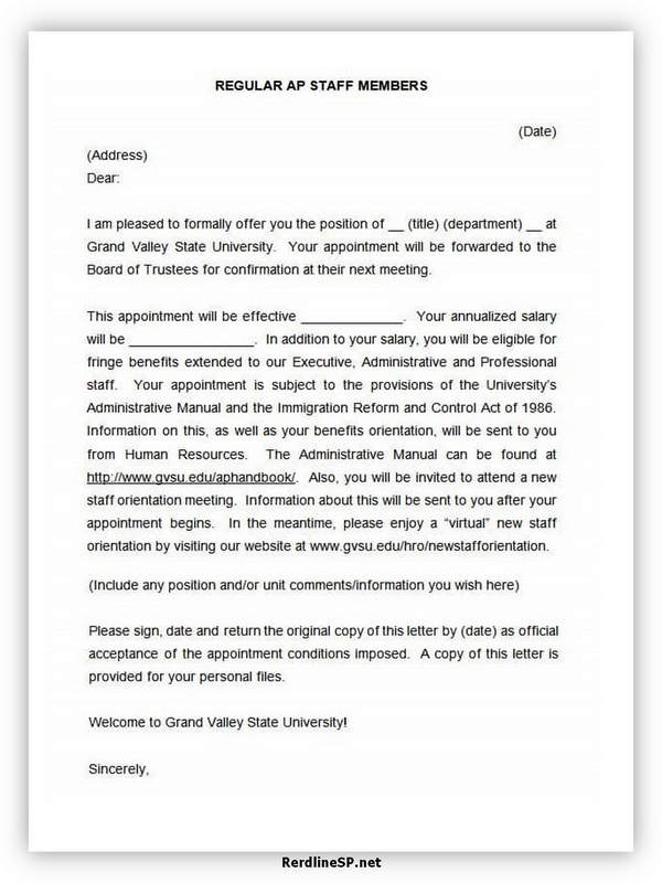 Appointment Letter Template 02