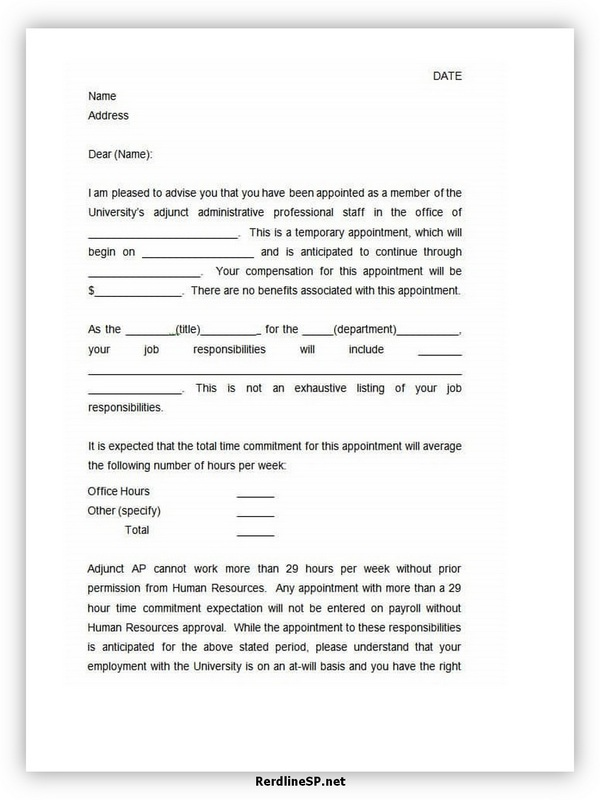 Appointment Letter Template 03