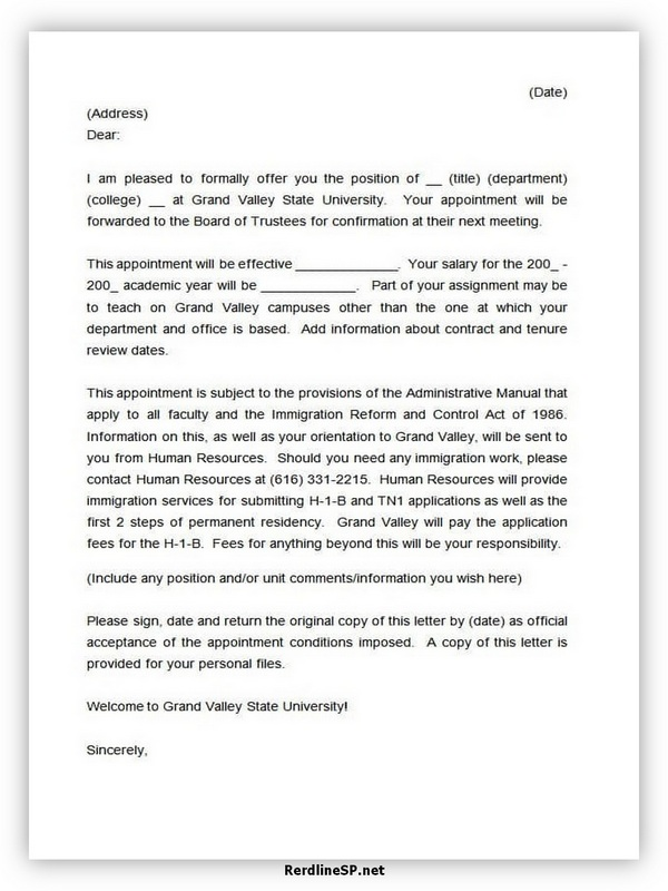 Appointment Letter Template 05