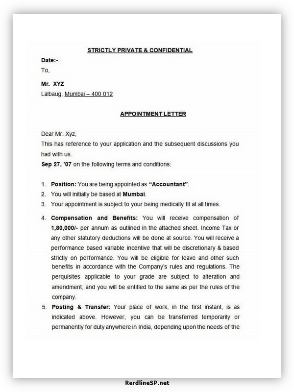 Appointment Letter Template 08