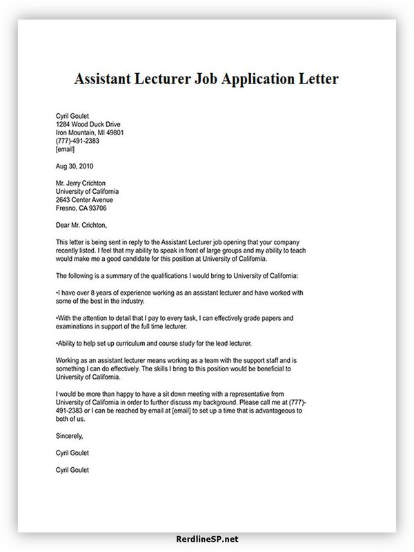Assistant Lecturer Job Application Letter