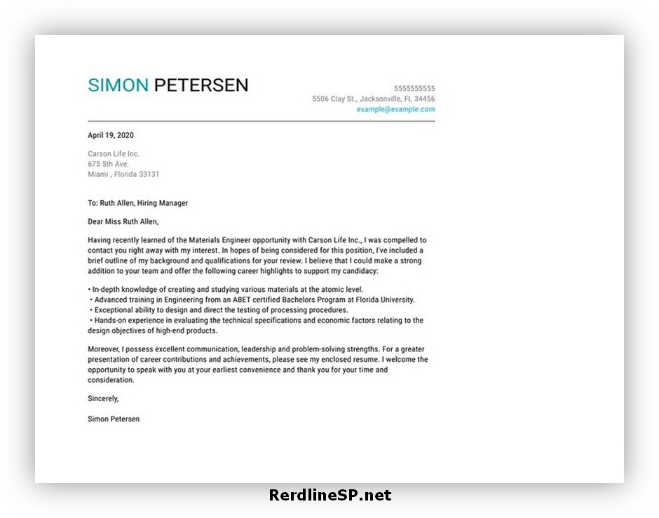 Email Cover Letter Format 02