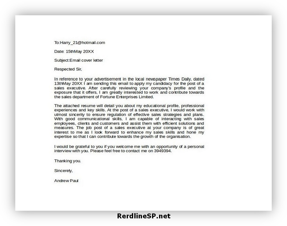 Email Cover Letter Format 03