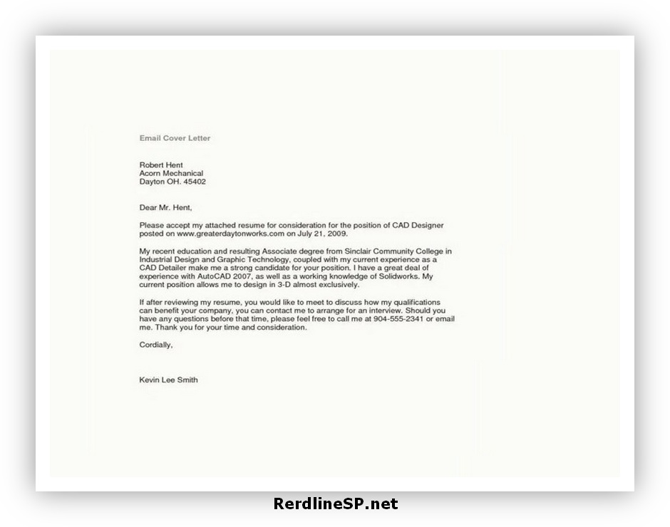 Email Cover Letter Format 05