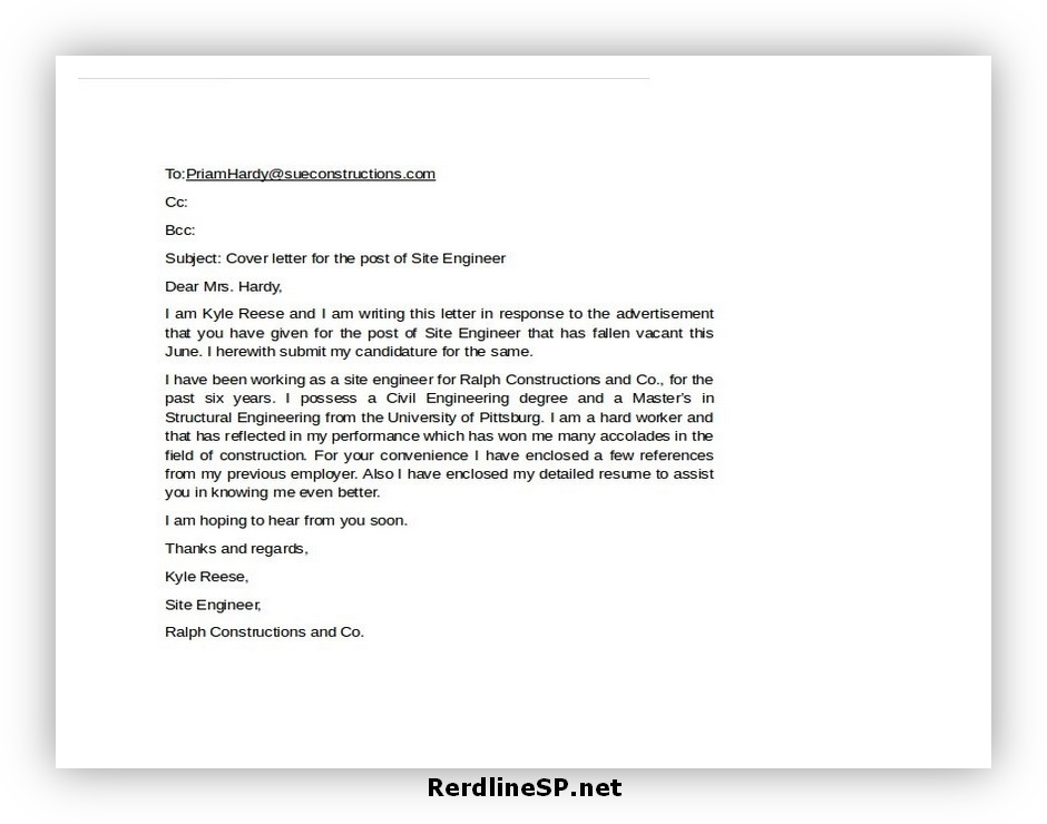 Email Cover Letter Format 06