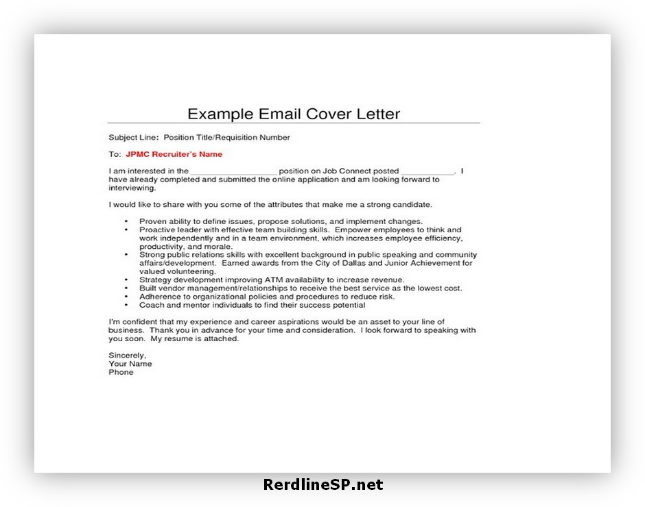 Email Cover Letter Format 07