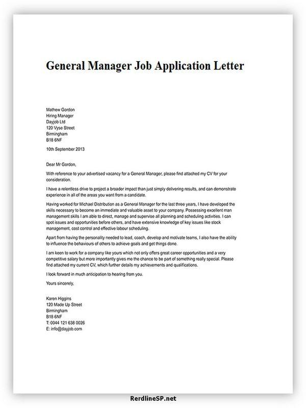 General Manager Job Application Letter