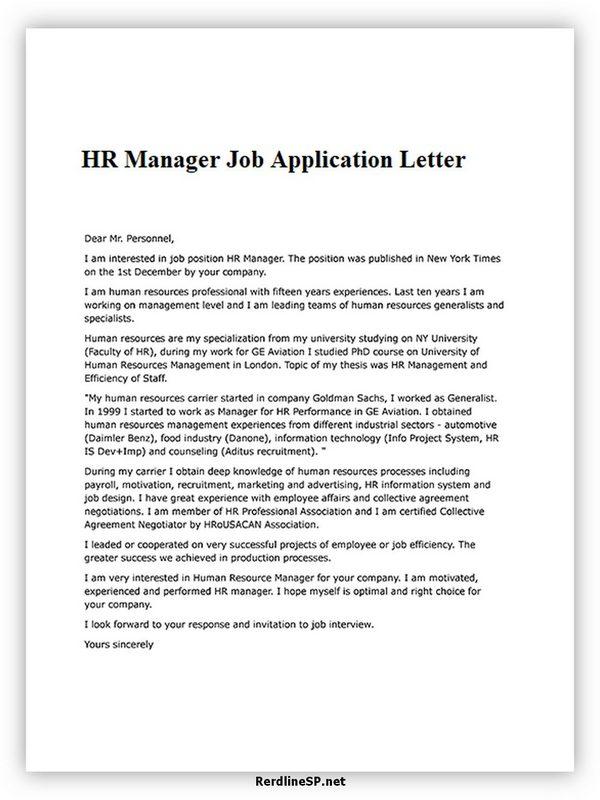 HR Manager Job Application Letter