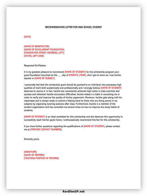 High School Recommendation Letter 03