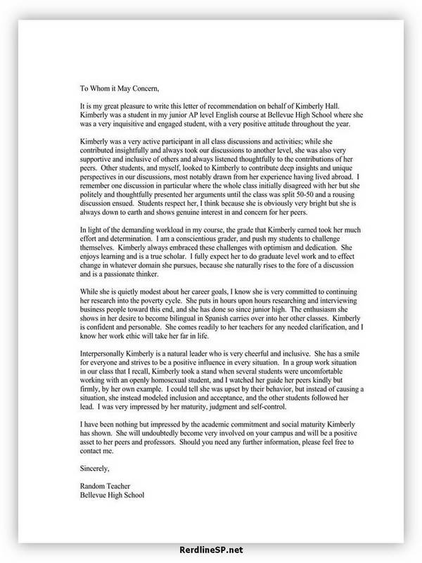High School Recommendation Letter 04