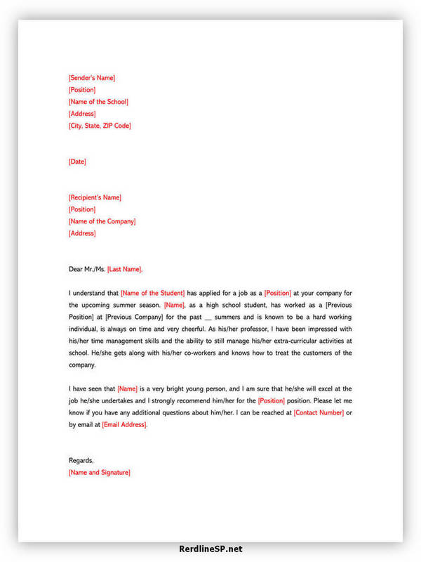 High School Recommendation Letter 07