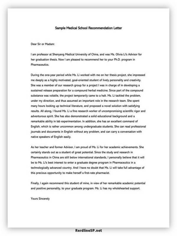 High School Recommendation Letter 08