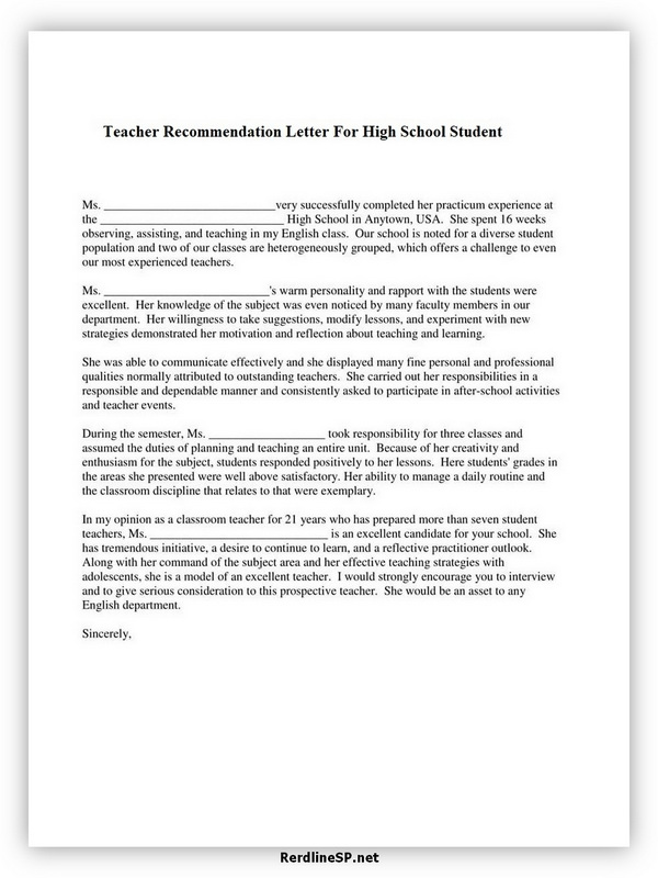 High School Recommendation Letter 10