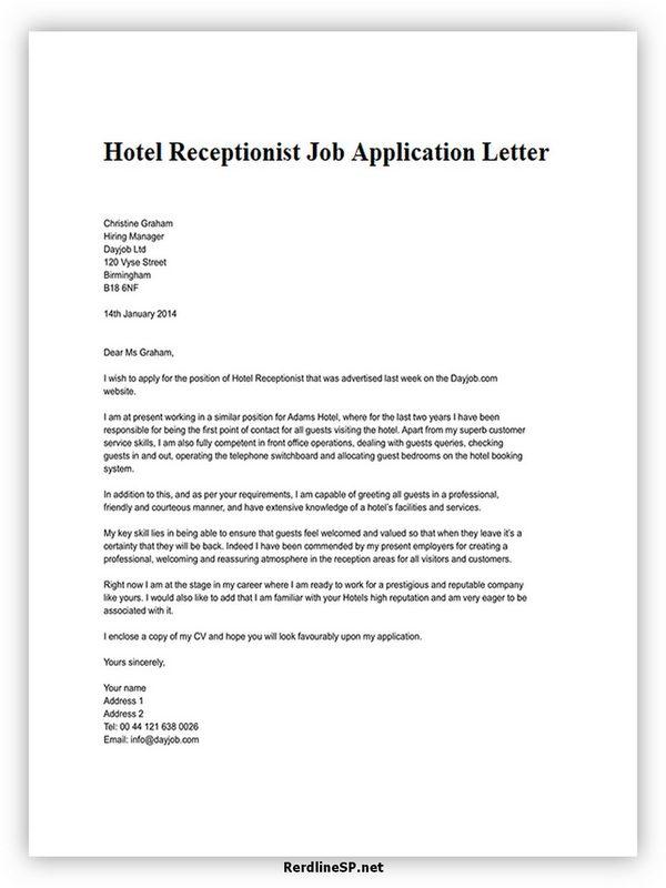 Hotel Receptionist Job Application Letter