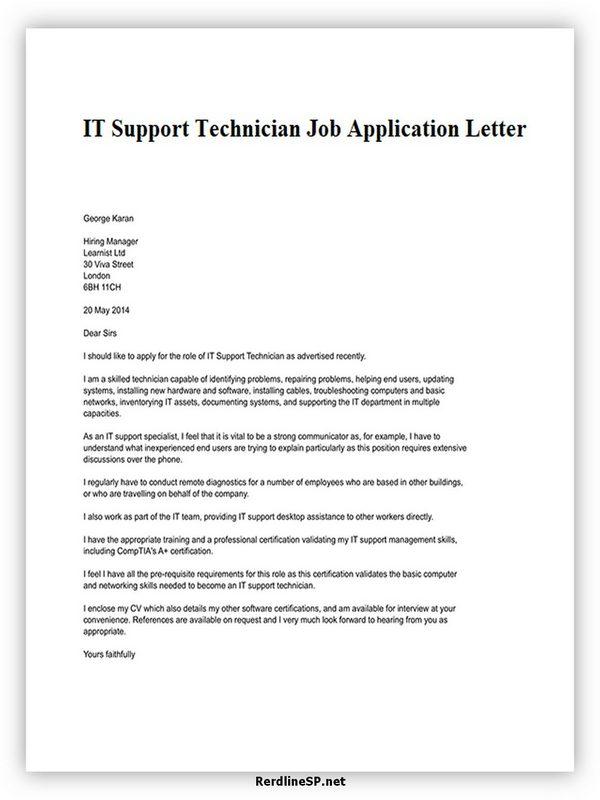 IT Support Technician Job Application Letter