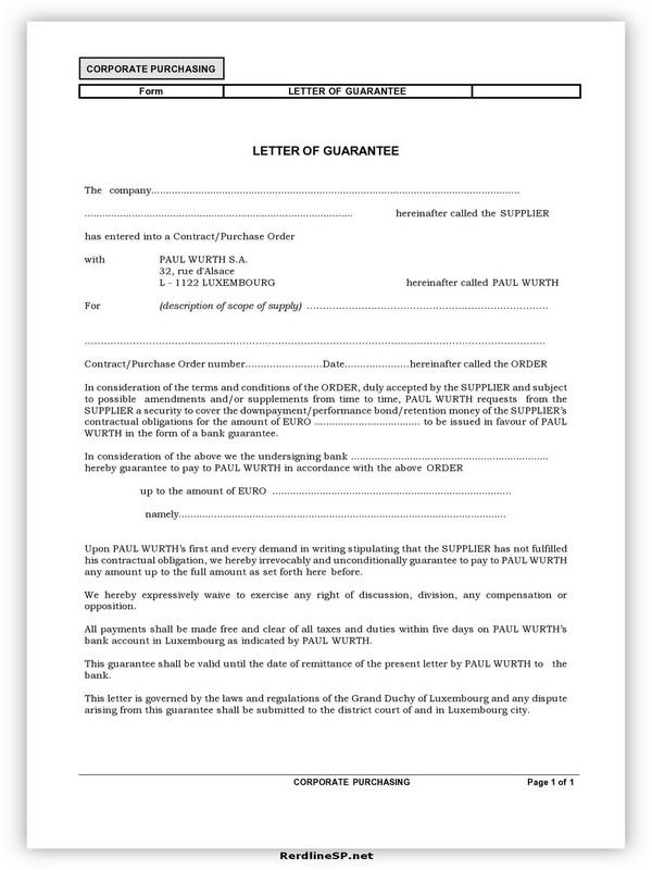 Letter Of Guarantee Sample 02