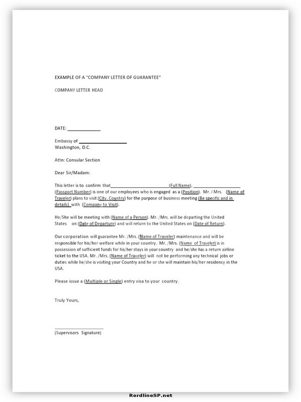 Letter Of Guarantee Sample 05