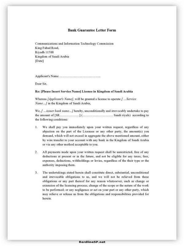 Letter Of Guarantee Sample 08