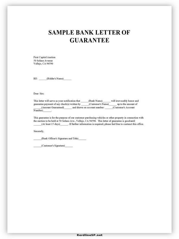 Letter Of Guarantee Sample 09