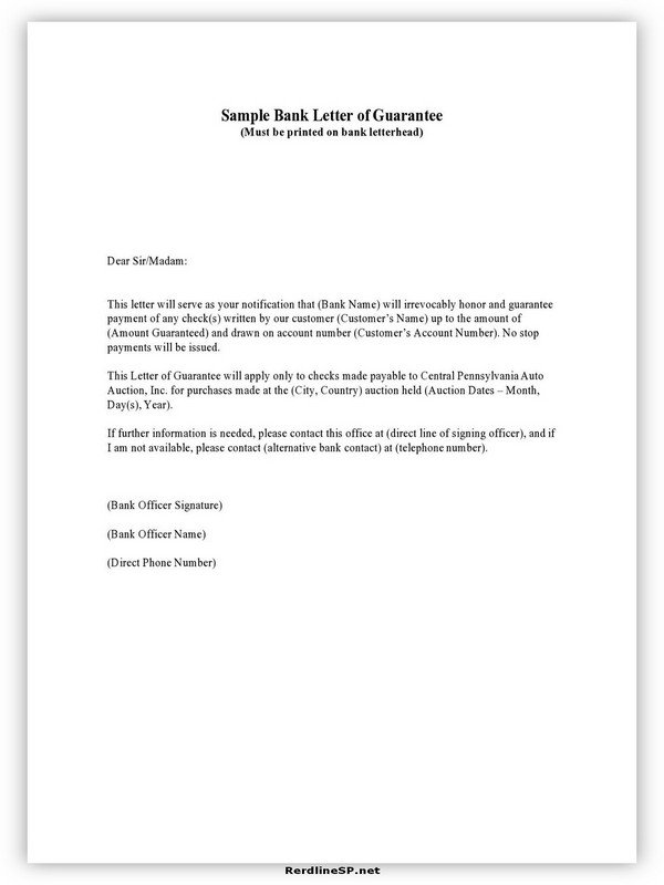 Letter Of Guarantee Sample 10