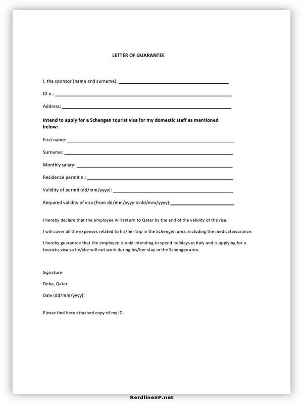 Letter Of Guarantee Sample 12