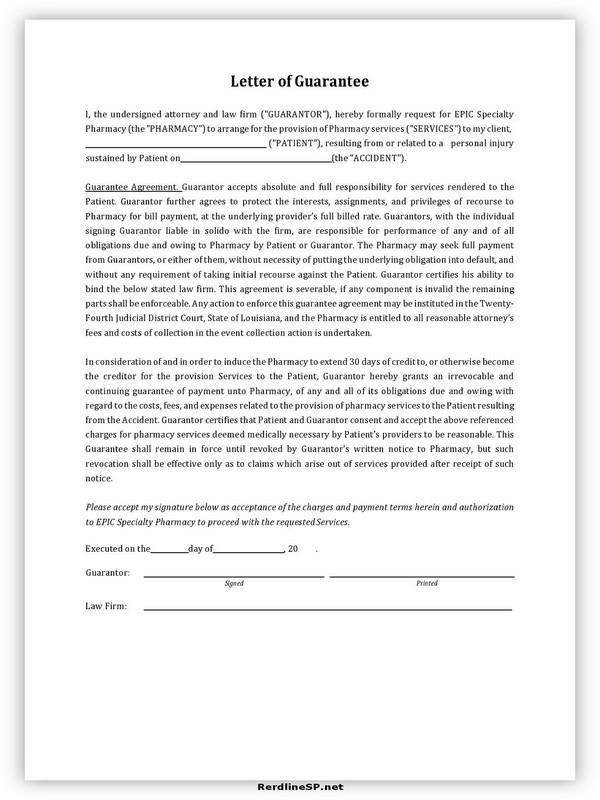 Letter Of Guarantee Sample 13