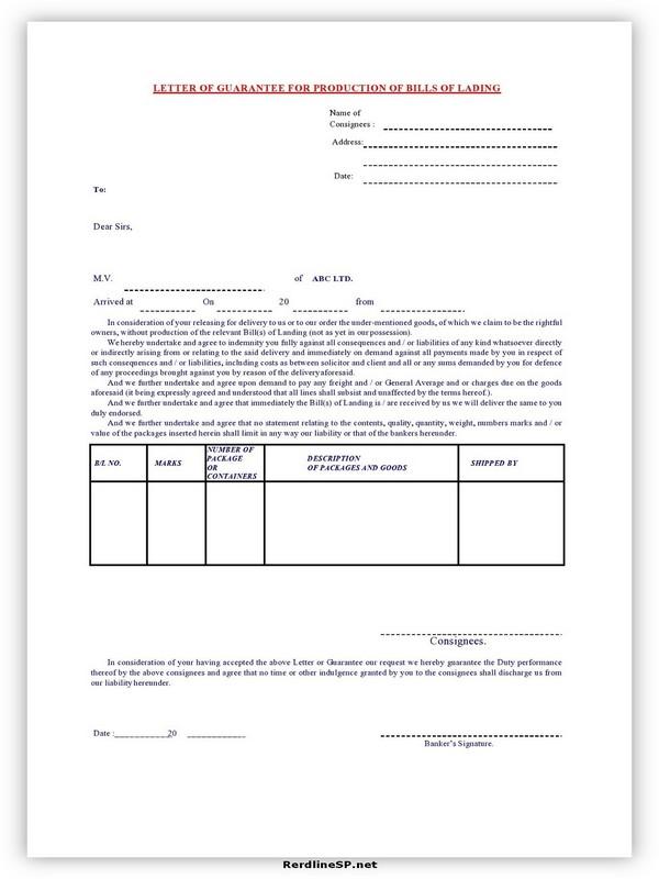 Letter Of Guarantee Sample 14