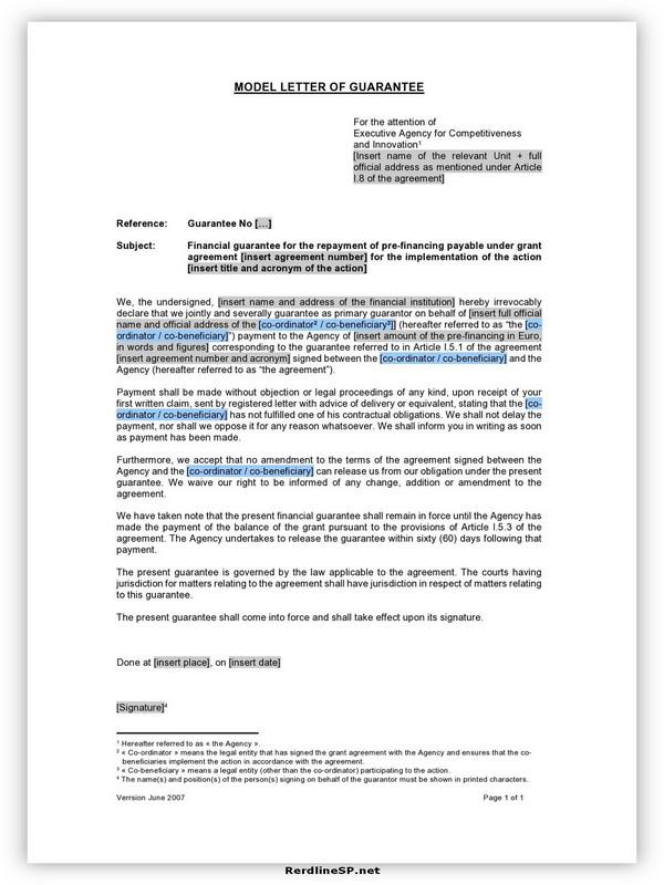 Letter Of Guarantee Sample 15