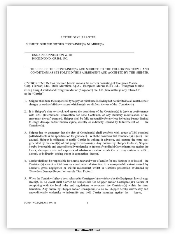 Letter Of Guarantee Sample 16
