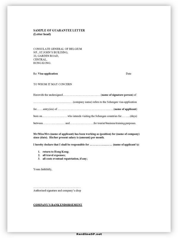 Letter Of Guarantee Sample 17