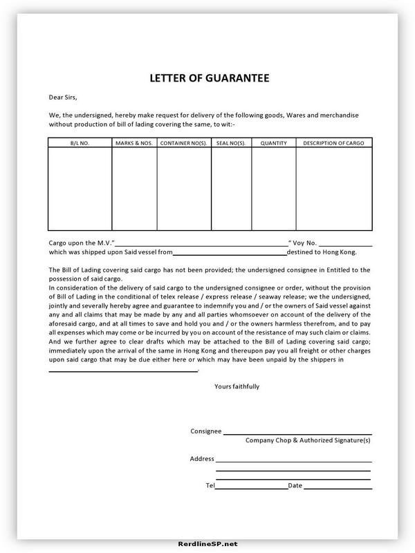 Letter Of Guarantee Sample 20