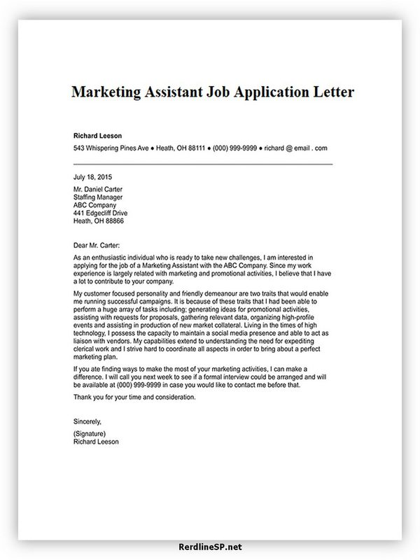 Marketing Assistant Job Application Letter