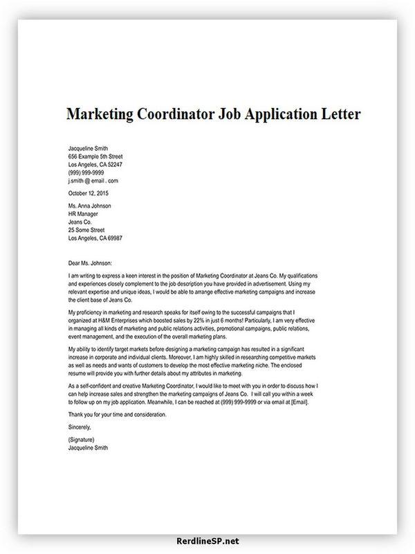 Marketing Coordinator Job Application Letter