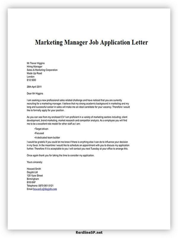 Marketing Manager Job Application Letter