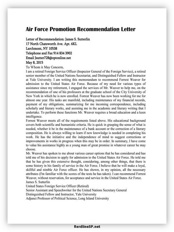 Air Force Promotion Recommendation Letter 02