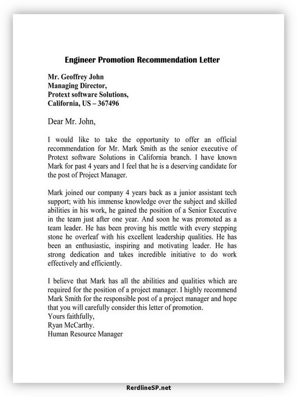 Engineer Promotion Recommendation Letter 03