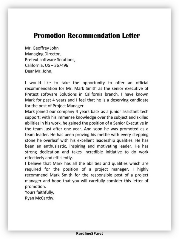 Promotion Recommendation Letter Template 08