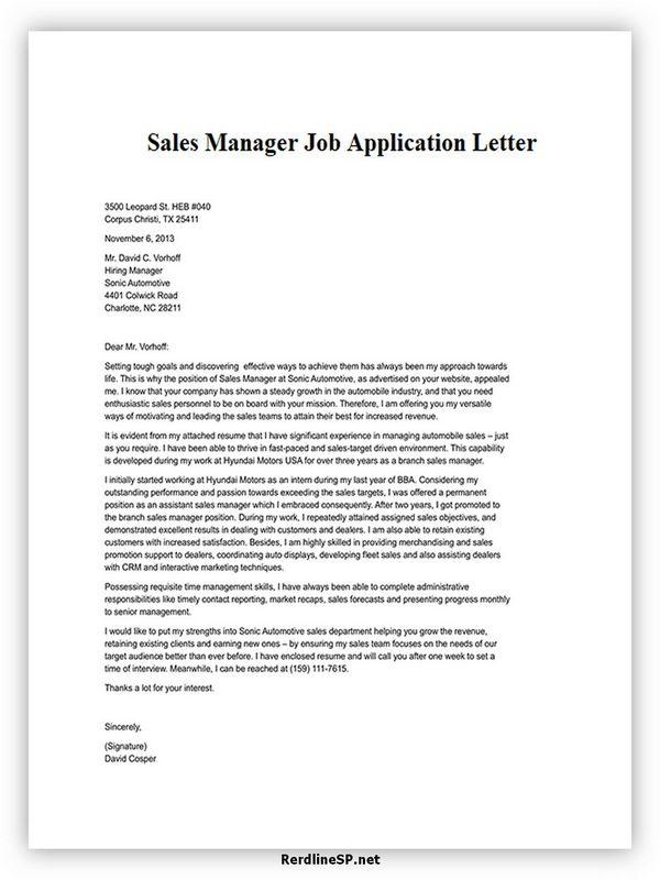 Sales Manager Job Application Letter