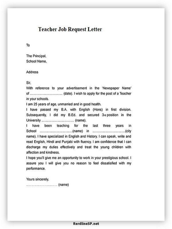 Teacher Job Request Letter
